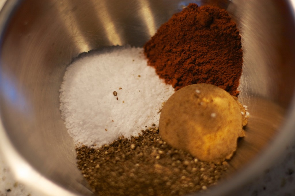 The spices: Salt, fresh ground black pepper, hot Hungarian paprika and brown sugar