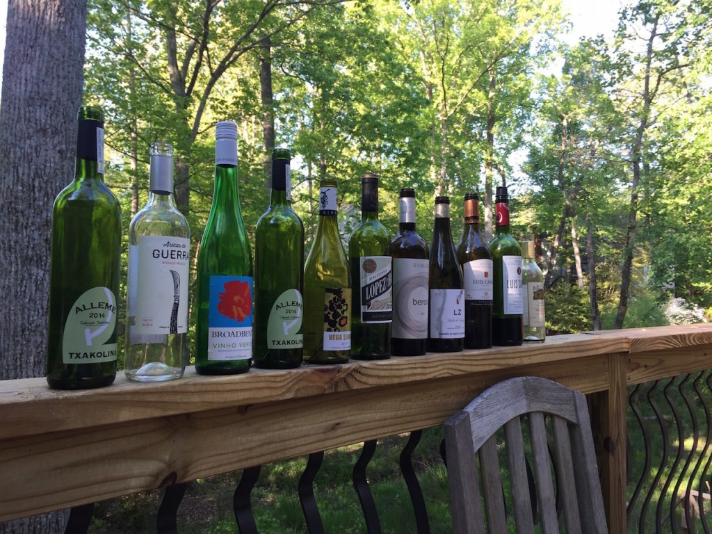 The wine lineup (the next morning)