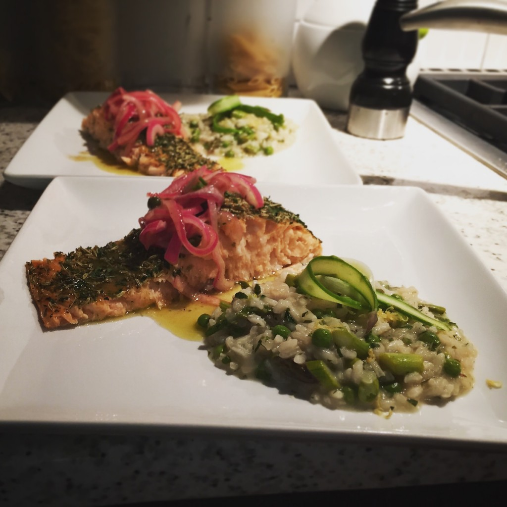 Herb Crusted Salmon with Onion Caper Topping and spring risotto